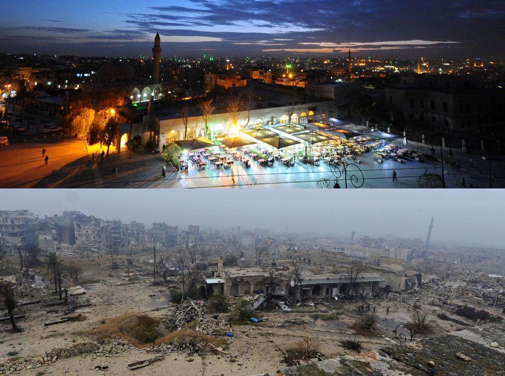 Potret Kota Aleppo Sebelum dan Sesudah Konflik