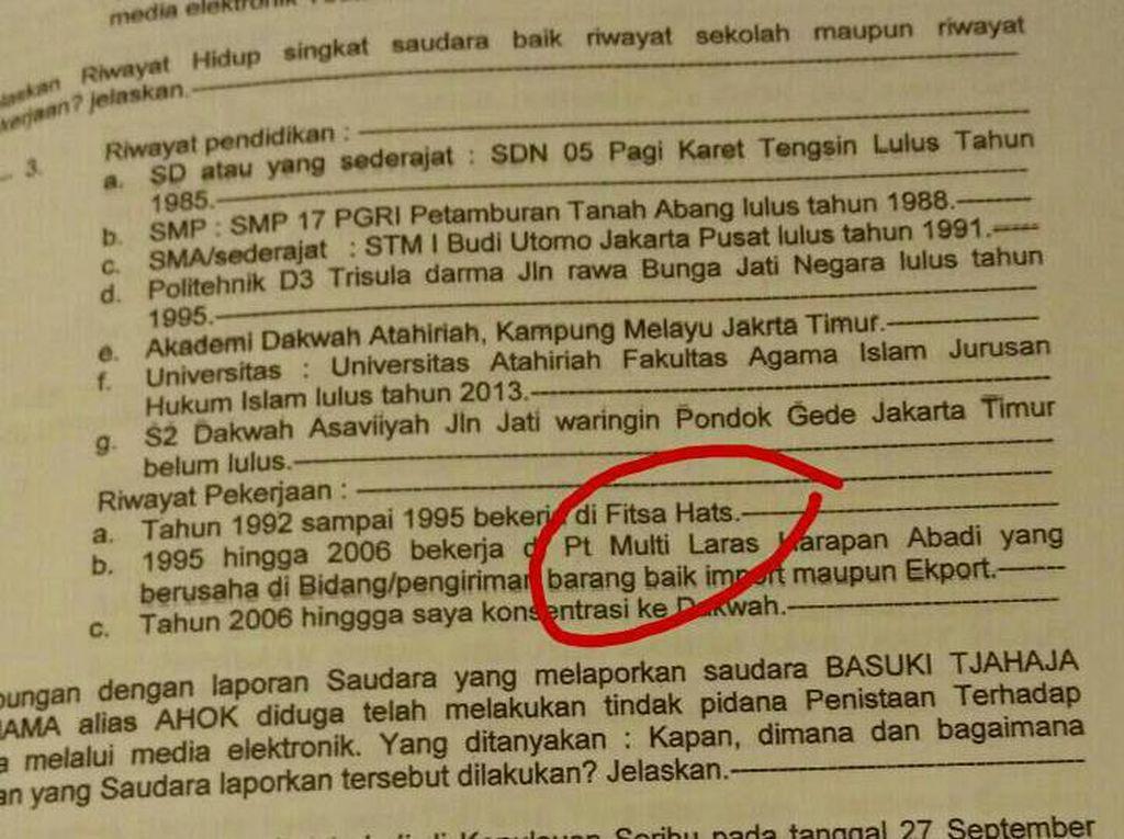 Ini BAP Fitsa Hats Habib Novel yang Viral di Medsos