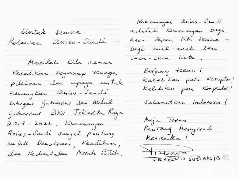 Tulisan Prabowo untuk Relawan Anies-Sandi: Selamatkan Indonesia!