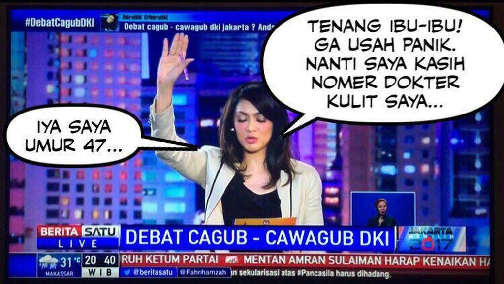 Ira Koesno dan Alexis Bersaing Jadi Meme Kocak Debat Cagub