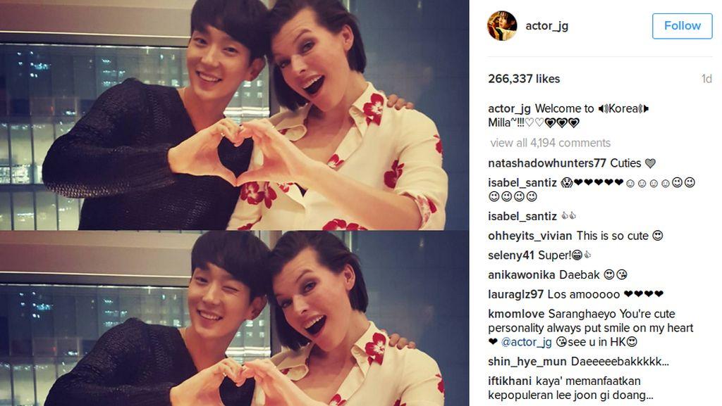 Lee Jun Ki Sambut Hangat Milla Jovovich di Korea Selatan