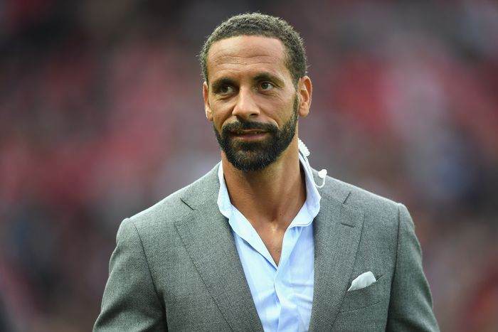 MANCHESTER, ENGLAND - AUGUST 03: Rio Ferdinand looks on during the Wayne Rooney Testimonial match between Manchester United and Everton at Old Trafford on August 3, 2016 in Manchester, England.  (Photo by Michael Regan/Getty Images)