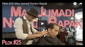Iseng, Jokowi Cukur Rambut Jadi Bahan Vlog Kaesang