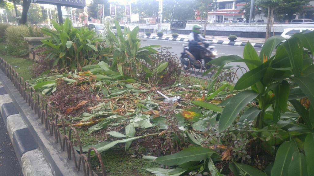 Begini Rupa Taman di Jalan Pahlawan yang Rusak