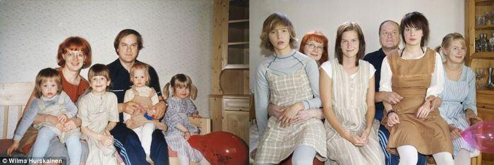 Kadang agak sulit menemukan tempat seperti di foto aslinya, mencari baju yang sesuai dan merasakan perasaan yang muncul karena mengenang masa lalu, sebut Wilma Hurskainen, wanita asal Swedia yang berfoto bersama saudara saudaranya ini. Foto: Istimewa