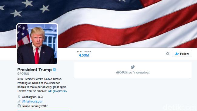 Twitter Larang Penggunanya Unfollow Akun Presiden AS?
