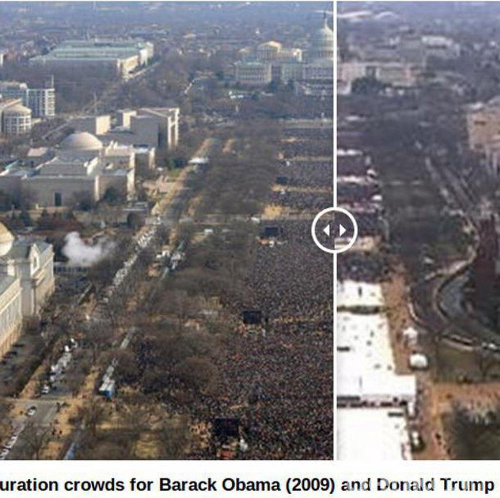 Massa Pelantikan Trump dan Obama Dibandingkan, Gedung Putih Sewot