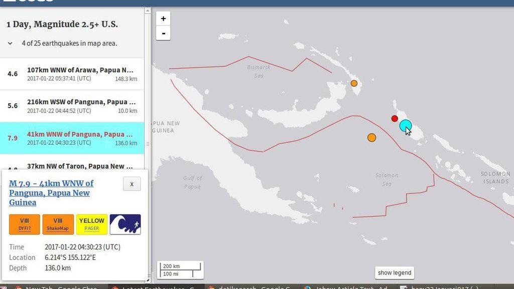 Gempa 7,9 SR di Papua Nugini Tak Berpotensi Tsunami di Indonesia