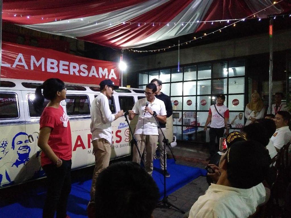 Sandiaga Hadiri Launching Video Klip Kampanye yang Dibuat Relawan