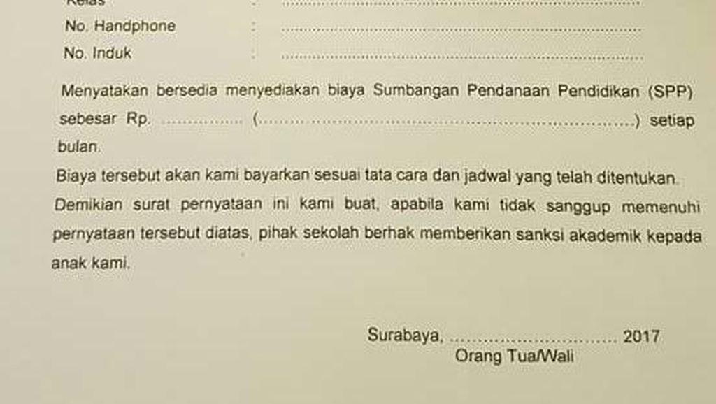 Foto Surat Viral, Sumbangan di SMAN 17 Surabaya Disertai Sanksi Dibatalkan