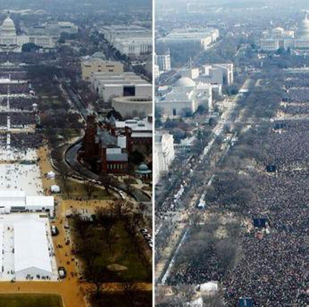 Foto Massa Pelantikan Lebih Sedikit dari Obama, Trump Murka
