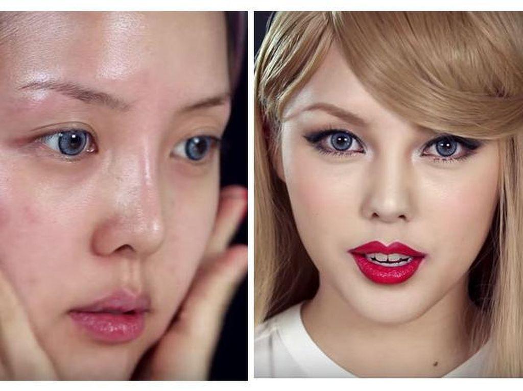 Foto: Membandingkan Wajah Beauty Vlogger Saat Pakai dan Tidak Pakai Makeup