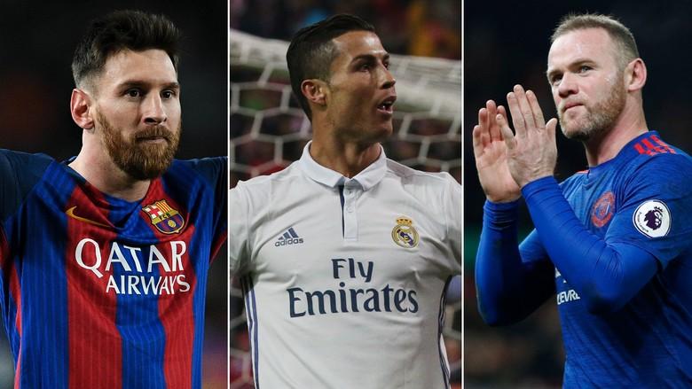 Ronaldo, Messi, dan Rooney Punya Kesamaan dalam Rekor Ini