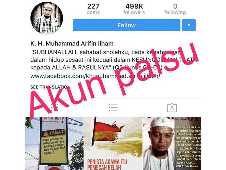 Akun Instagram Palsu Ustaz Arifin Ilham Bikin Resah