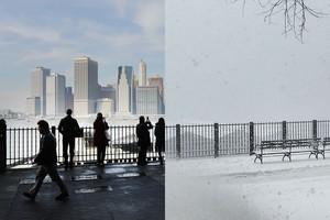 Penampakan Sebelum dan Sesudah Badai Salju di New York