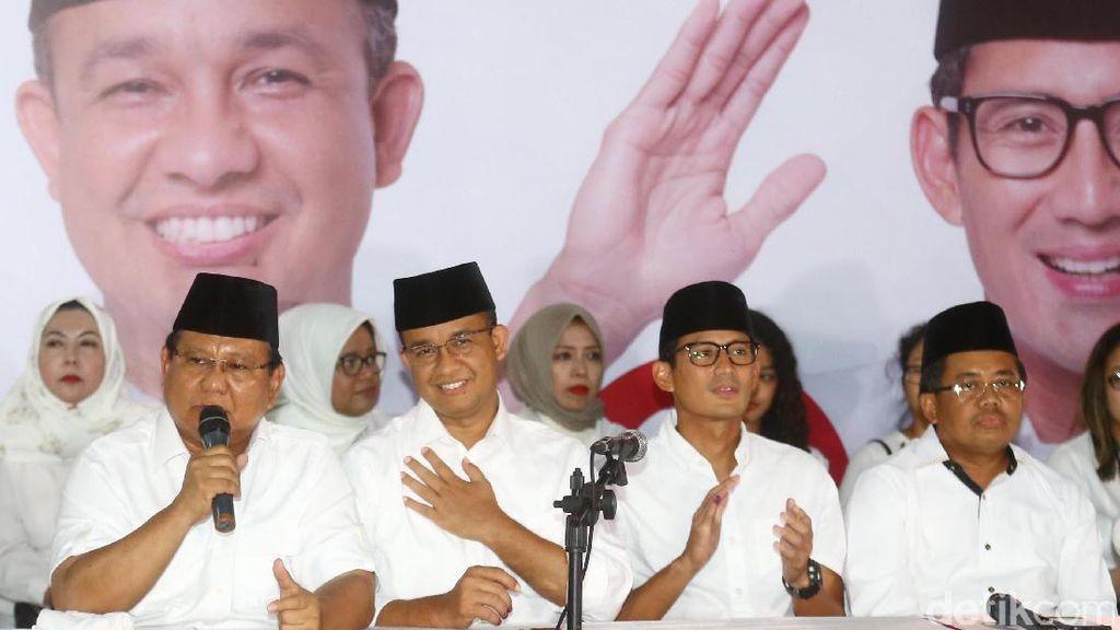 Prabowo, Anies dan Sandi Tanggapi Quick Count
