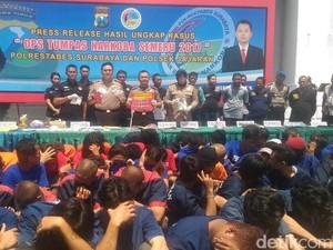 Polrestabes Surabaya Amankan 156 Tersangka Narkoba