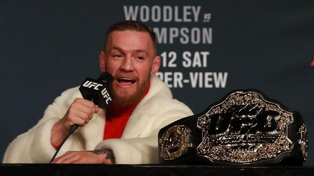 NEW YORK, NY - NOVEMBER 10: UFC Featherweight Champion Conor McGregor addresses the media during the UFC 205 press conference at The Theater at Madison Square Garden on November 10, 2016 in New York City.   Michael Reaves/Getty Images/AFP