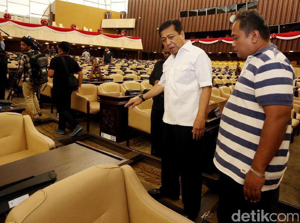 Setnov Cek Kesiapan Gedung DPR Jelang Kedatangan Raja Salman
