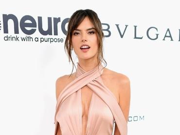 Model tersebut tampil seksi dengan gaun berwarna pink. Dimitrios Kambouris/Getty Images for EJAF