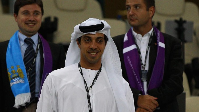 AL AIN, UNITED ARAB EMIRATES - MAY 15:  Manchester City owner Sheikh Mansour bin Zayed Al Nahyan are pictured  during the friendly match between Al Ain and Manchester City at Hazza bin Zayed Stadium on May 15, 2014 in Al Ain, United Arab Emirates.  (Photo by Francois Nel/Getty Images)