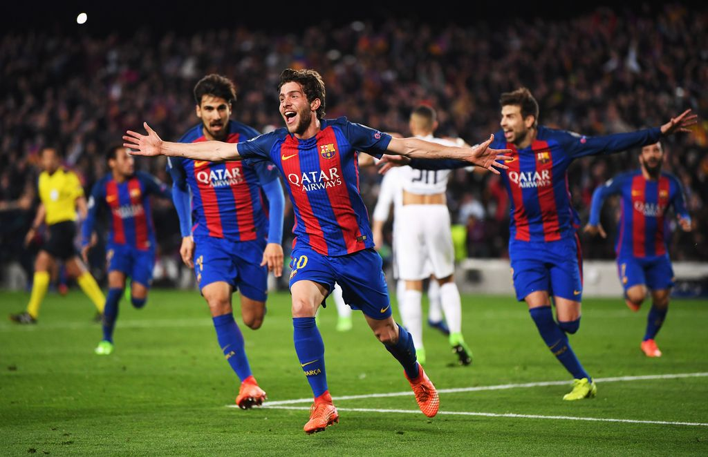 BARCELONA, SPAIN - MARCH 08:  Sergi Roberto of Barcelona (20) celebrates as he scores their sixth goal during the UEFA Champions League Round of 16 second leg match between FC Barcelona and Paris Saint-Germain at Camp Nou on March 8, 2017 in Barcelona, Spain.  (Photo by Laurence Griffiths/Getty Images)