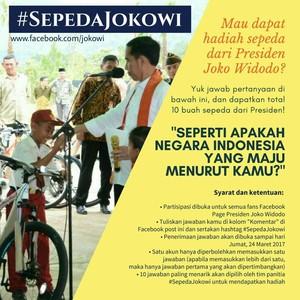 Jokowi yang Akan Tentukan 10 Pemenang Kuis #SepedaJokowi