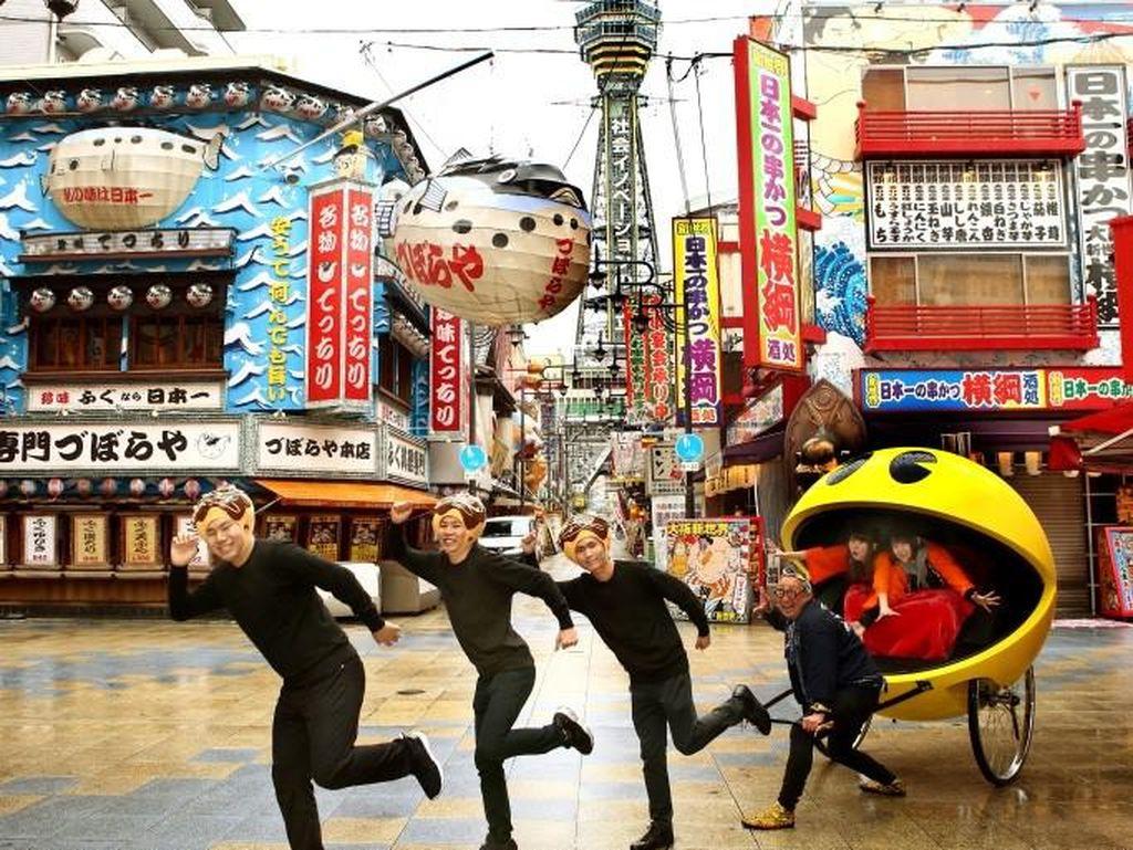 Serunya Naik Becak Tarik Bergaya Pac-Man di Osaka