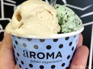 aROMA Gelato: Lembut <i>Creamy</i> Gelato Hazelnut dan <i>Mint Chocolate</i> Racikan Gerai Italia