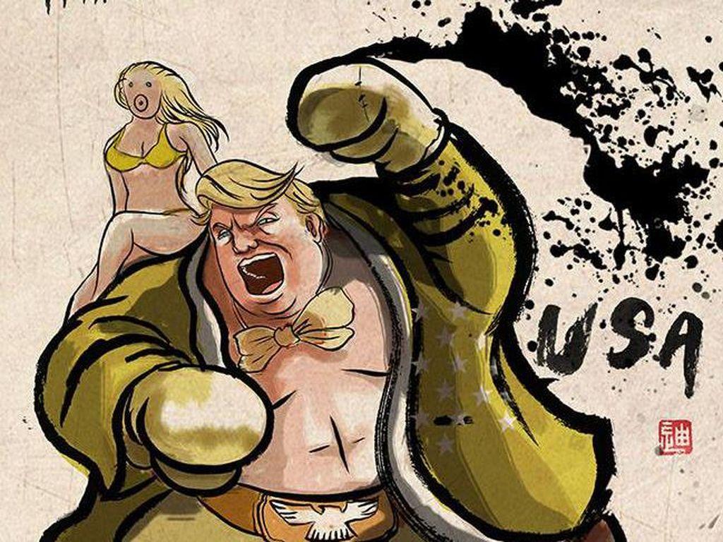 Ketika Donald Trump cs Jadi Petarung Street Fighter