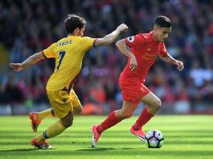 Gol Coutinho Dibalas Benteke, Liverpool vs Palace Sementara 1-1