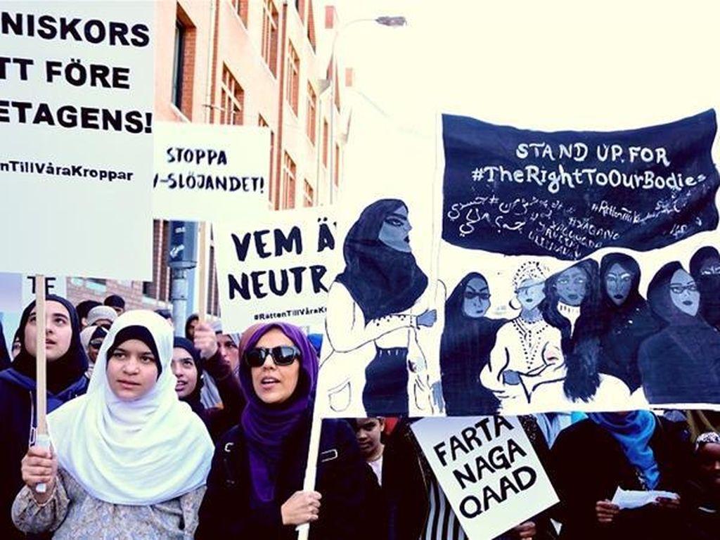 Hari Buruh, Wanita Swedia Demo untuk Tetap Berhijab di Tempat Kerja