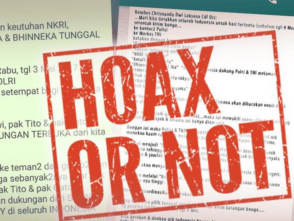Broadcast Hoax Polisi Minta Karangan Bunga Dikirim ke Mabes Polri