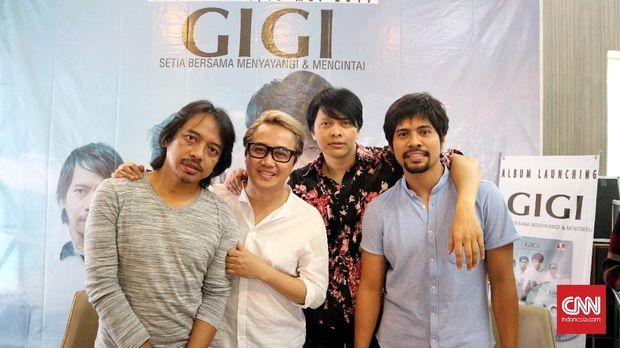 Band GIGI saat peluncuran album religi terbaru mereka di Jakarta.