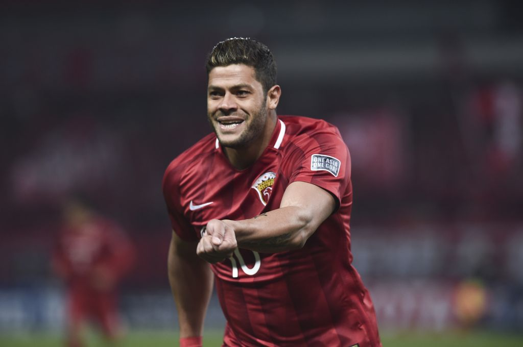 SHANGHAI, CHINA - FEBRUARY 28: Hulk #10 of Shanghai SIPG celebrates after scoring his team's first goal during the AFC Champions League 2017 Group F match between Shanghai SIPG and Western Sydney Wanderers at Shanghai Stadium on February 28, 2017 in Shanghai, China.  (Photo by Visual China/Getty Images)