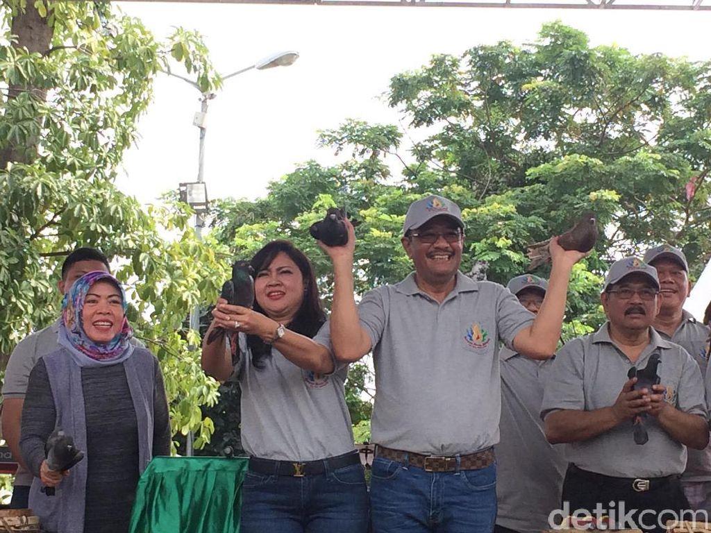 Buka Rangkaian HUT DKI, Djarot Lepas 490 Merpati di Waduk Pluit