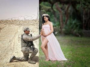 Cara Romantis Istri yang Tengah Hamil Foto Bareng Suami Tentara