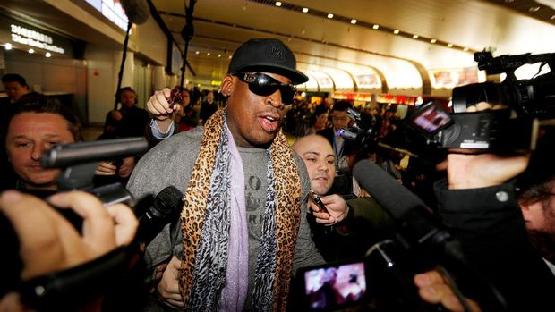 Dennis Rodman usai berkunjung ke Korea Utara. (