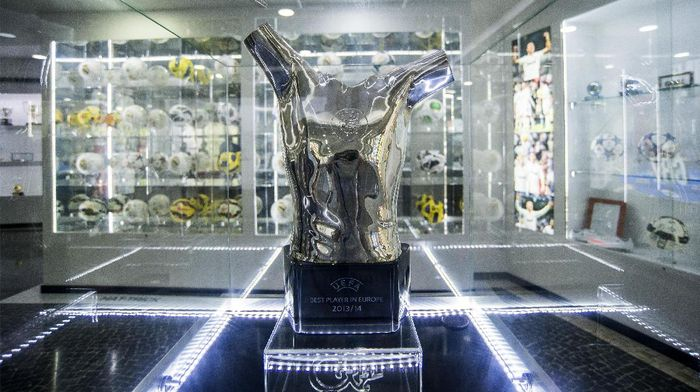 FUNCHAL, MADEIRA, PORTUGAL - MAY 09: Detail of the UEFA Best Player in Europe 2013/14 trophy at the gallery of trophies of the Portuguese footballer Cristiano Ronaldo on May 9, 2016 in Funchal, Madeira, Portugal. (Photo by Octavio Passos/Getty Images)