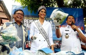 BNN Bersama Puteri Indonesia Musnahkan Barbuk Narkoba