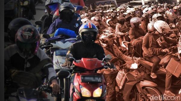Foto: ilustrasi mudik naik motor