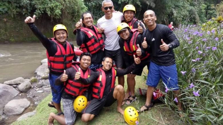Obama Rafting di Sungai Ayung (Foto:Detikcom)