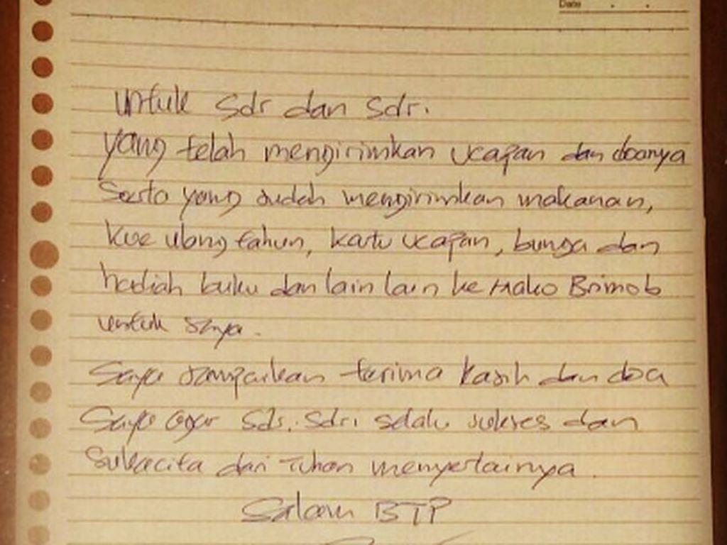 Lewat Surat di Hari Ultah, Ahok Ucapkan Terima Kasih ke Pendukung