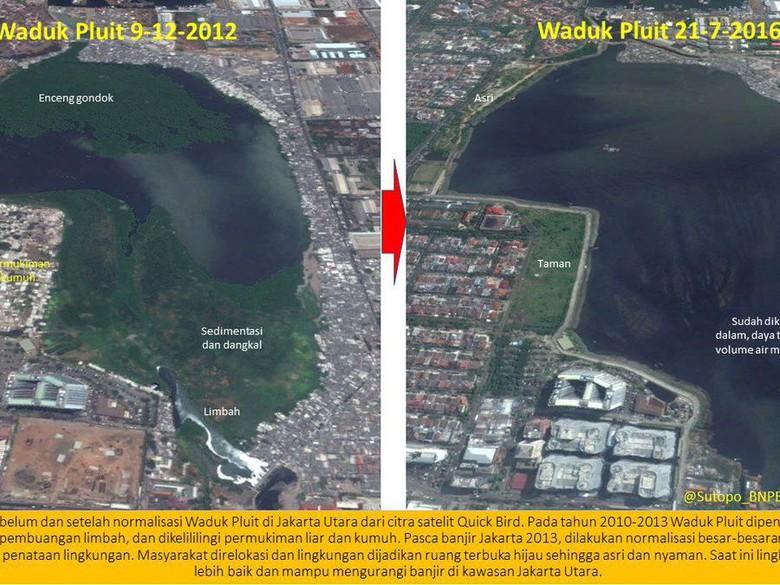 Viral Foto Perubahan Waduk Pluit dan Ciliwung di Ultah Ahok
