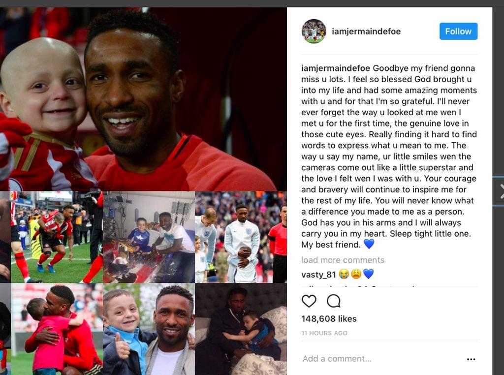 Duka Jermain Defoe untuk Fans Cilik yang Meninggal karena Neuroblastoma