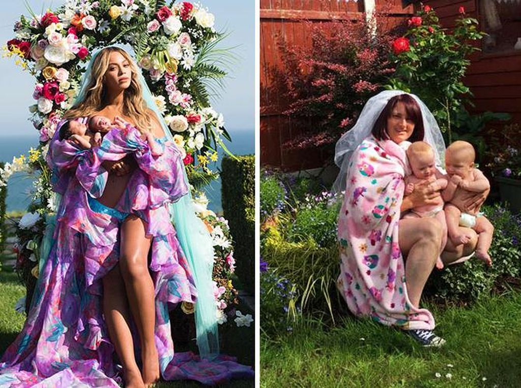 Kocak, Ibu-ibu Ini Tiru Foto Ikonik Beyonce dengan Bayi Kembar