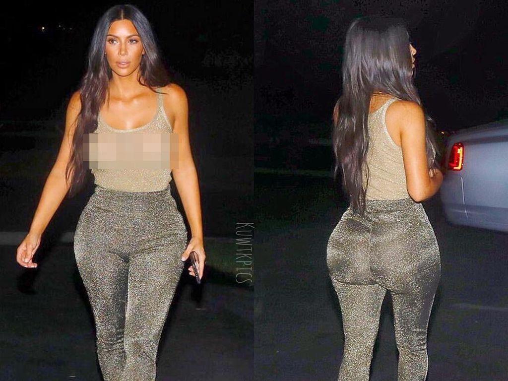 Kim Kardashian Tampil Seksi Jalan-jalan Tanpa Bra dengan Baju Transparan