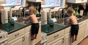 Kocak! Balita-balita Ini Terampil Mencuci Piring Seperti Orang Dewasa