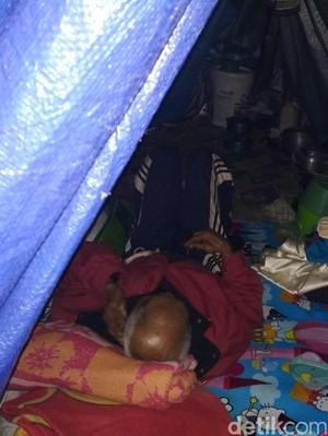 Pasutri Lansia Penjual Bendera Terpaksa Tidur di Tenda Pinggir Jalan