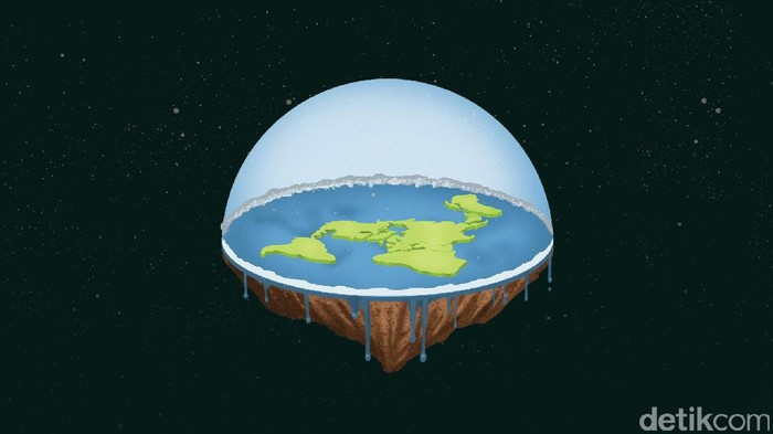 Bumi datar, Bumi berongga, dan Bumi donat jadi sejumlah teori konspirasi yang meragukan bentuk Bumi yang berbentuk seperti bola. Foto: Ilustrasi Kiagus/detikcom